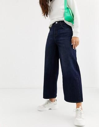 Asos Design DESIGN premium wide leg jeans in blackened blue wash
