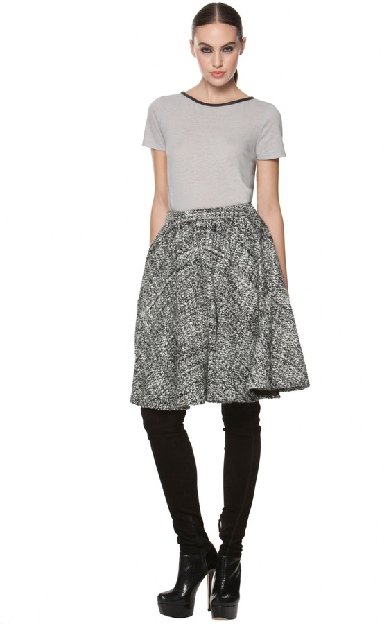 Alice + Olivia Sterling Cut Out Back T-Shirt With Leather