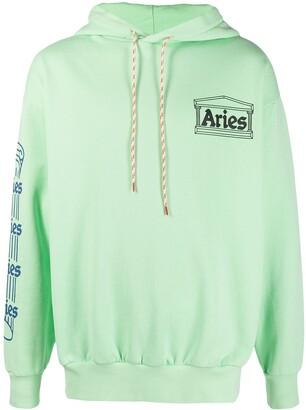 Aries Temple logo-print cotton hoodie