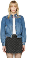 Marc Jacobs Indigo Denim Shrunken 80s Bomber Jacket