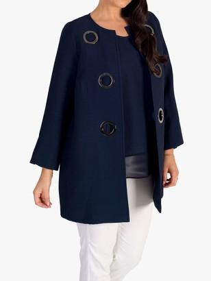 Chesca Fine Ribbed Metallic Eyelet Jacket, Navy