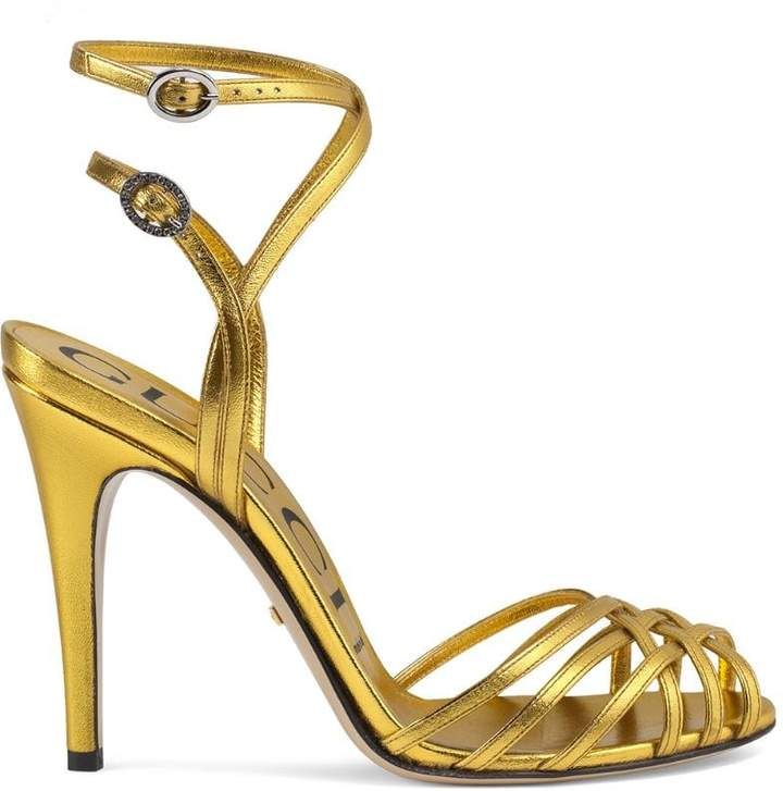 f52e64ecfdd3 Gucci Metallic Leather Women s Sandals - ShopStyle
