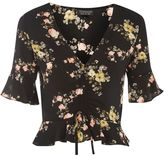 Topshop Floral Ruched Top