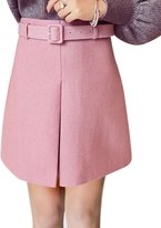 uxcell® Women High Rise Mini Worsted A Line Skirt w Belt