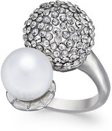 INC International Concepts Silver-Tone Pavé Dome and Imitation Pearl Ring, Only at Macy's