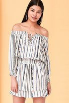 Astr Blair Off-The-Shoulder Blouson Mini Dress