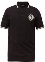 Dolce & Gabbana - Embroidered Monogram Patch Cotton Pique Polo Shirt - Mens - Black