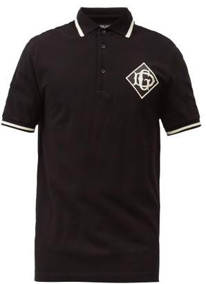 Dolce & Gabbana Embroidered Monogram-patch Cotton-pique Polo Shirt - Mens - Black