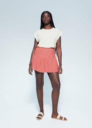 MANGO Violeta BY Polka-dot ruffled miniskirt coral red - L - Plus sizes