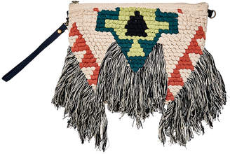 San Diego Hat Company Women's Clutches NATURAL - Tan & Black Geometric Fringe-Trim Clutch