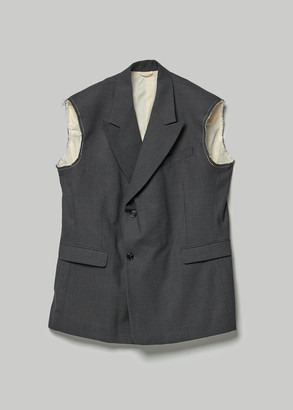 Raf Simons Men's Sleeveless Double Breasted Blazer in Anthracite Size 46