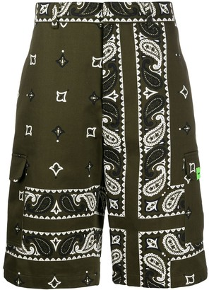 MSGM Bandana-Print Cargo Shorts