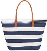 Phase Eight Straw Bag, Navy/Ivory