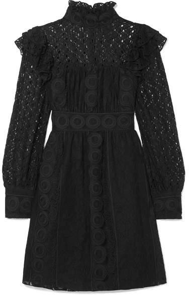 Anna Sui Rows Of Flowers Cotton-blend Guipure Lace Dress - Black