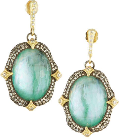 Armenta Triplet Oval Crivelli Drop Earrings w/ 18k Gold