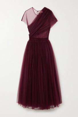 KHAITE Gigi Draped Tulle Gown - Burgundy