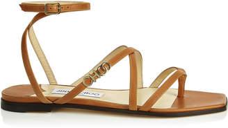 Jimmy Choo JAS FLAT Cuoio Vachetta Leather Flat Sandal