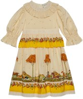Gucci Children's dogs and trees print silk dress