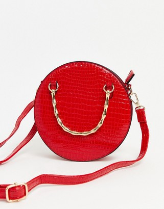 Asos Design DESIGN croc circle cross body bag with chain strap-Red
