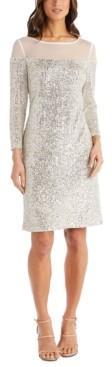 R & M Richards Petite Illusion-Trim Sequin Dress