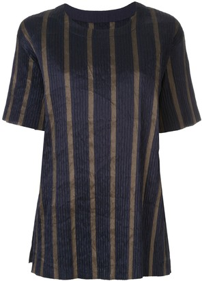 UMA WANG Striped Short-Sleeve Top