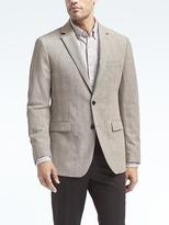 Banana Republic Standard Gray Plaid Linen Blazer