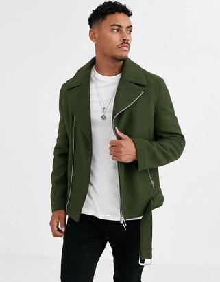 Asos Design DESIGN wool mix belted biker jacket in khaki-Green
