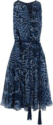 Max Mara Vadare Belted Printed Silk-chiffon Dress