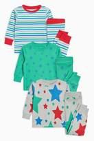 Next Boys Green Star/Stripe Snuggle Fit Pyjamas Three Pack (9mths-8yrs)