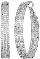 GUESS Medium Triple Textured Wire Hoop Earrings (Silver) Earring