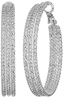 GUESS Medium Triple Textured Wire Hoop Earrings (Silver) Earring