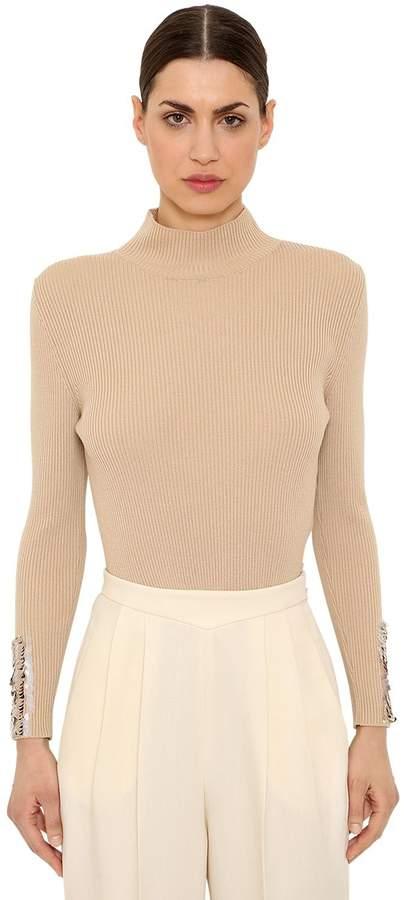 DELPOZO Wool Rib Knit Sweater W/ Sequined Cuffs