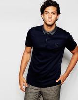 Ted Baker Jersey Polo Shirt With Woven Printed Collar - Blue