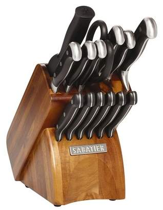 Sabatier 15 Piece Concave Acacia Wood Block-Forged Triple Rivet Knife Block Set