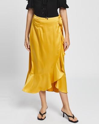 Glamorous Women's Yellow Midi Skirts - Ruffle Midi Wrap Skirt - Size 8 at The Iconic