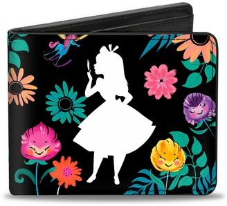 Buckle Down Wallet Bifold PU Alice Pose Silhouette Curiouser And Curiouser Floral Collage