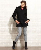 Esprit Coat, Hooded Knit-Sleeve Textured Wool-Blend