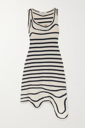 Lanvin Asymmetric Striped Cotton-blend Terry Dress - Navy