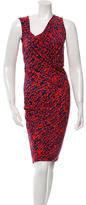 Halston Ruched Printed Dress w/ Tags
