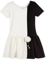 Zoë Ltd Short-Sleeve Colorblock Fit-and-Flare Dress, Ivory, Size 7-16