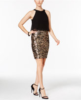 Betsy & Adam Sequined Popover Sheath Dress