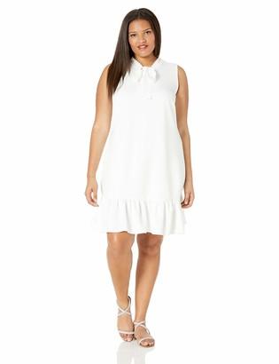 Betsey Johnson Women's Plus Size Shift Dress with Laser Cut Necktie