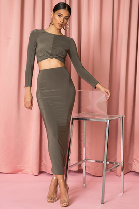 superdown Knot Front Maxi Set Olive