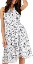 Closet Spotted High Neck Dress, White/Black