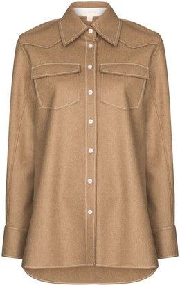 By Any Other Name Contrast Stitching Button-Up Shirt