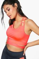 boohoo Annie Fit Ladder Detail Sports Bra orange