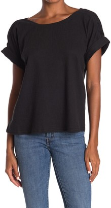 MelloDay Textured Boatneck Cuffed Sleeve Top