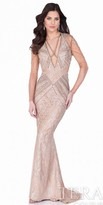 Terani Couture Crystal Illusion Sleeve Evening Gown