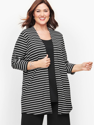 Talbots Knit Jersey Stripe Open Cardigan