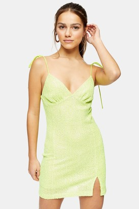 Topshop Womens Petite Neon Lime Green Sequin Slip Dress - Lime